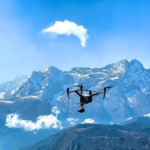 DJI Inspire 2 flying at high altitude in the himalayas