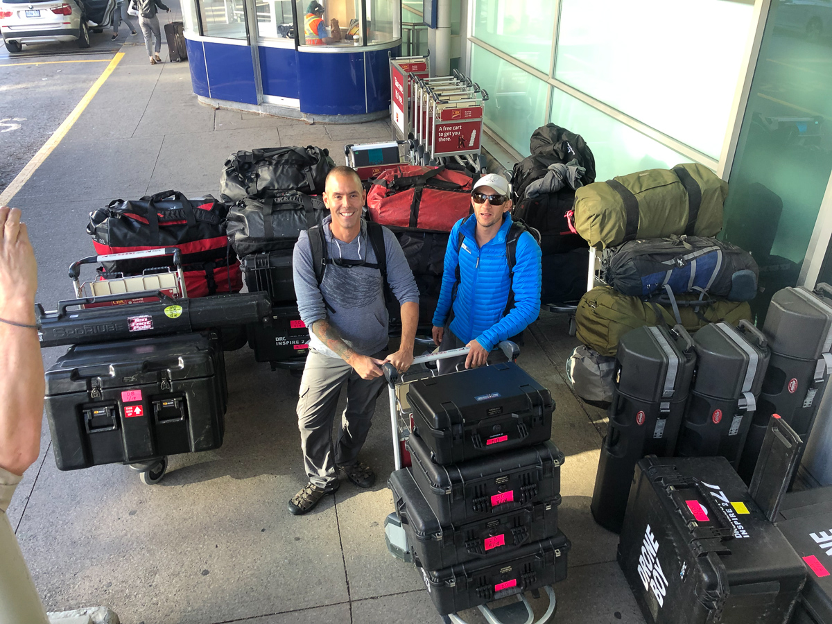 mountain of film and drone equipment going to nepal
