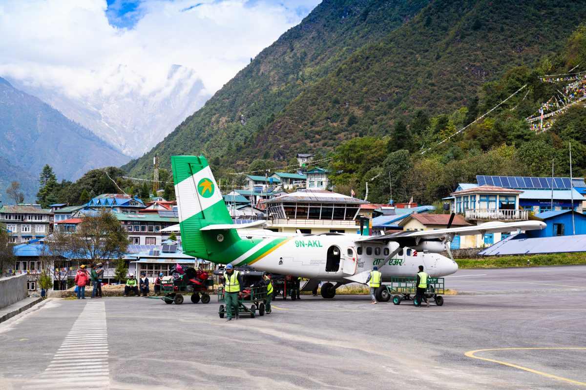 drone gear on twin otter in nepal