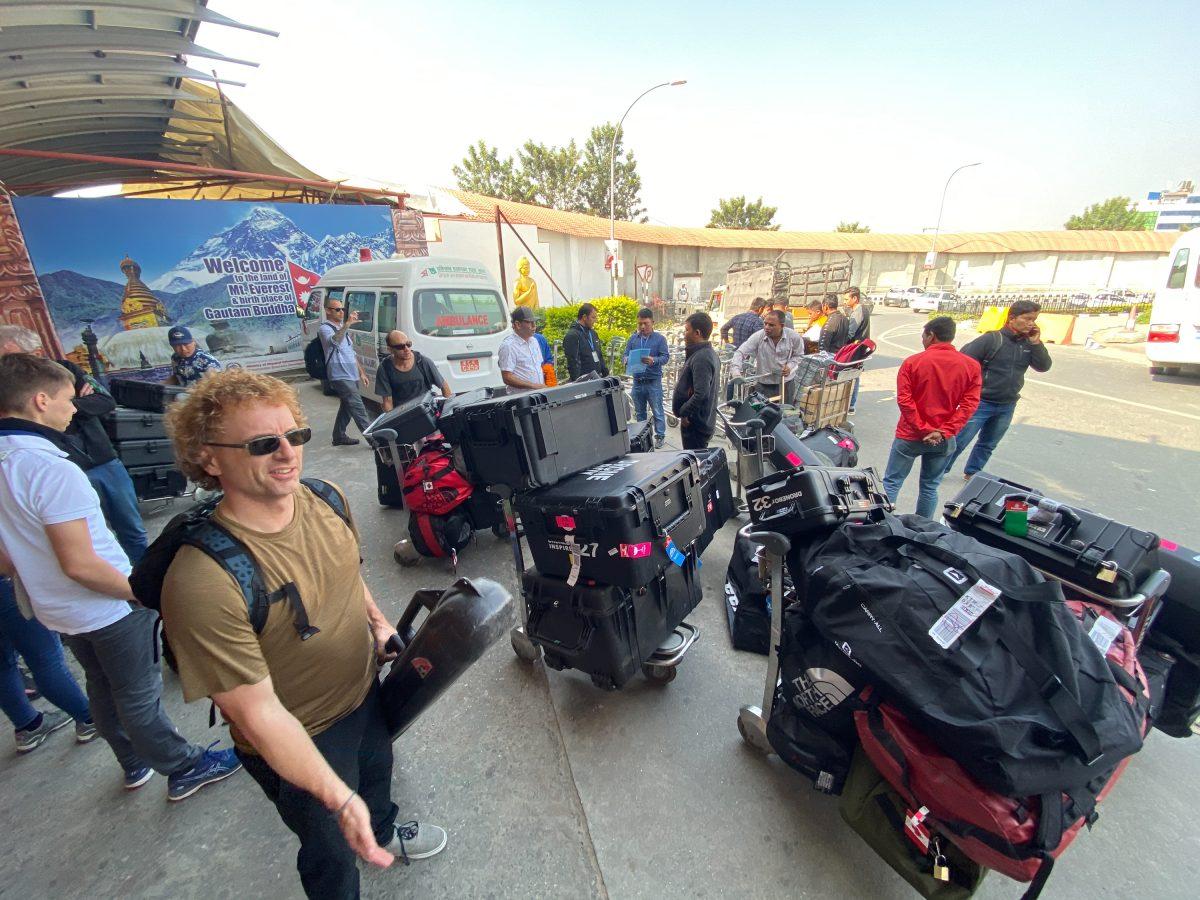 drone team arrives at kathmandu airport
