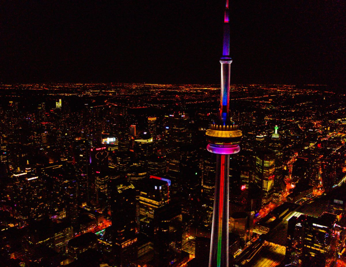 aerial video toronto cn tower drone