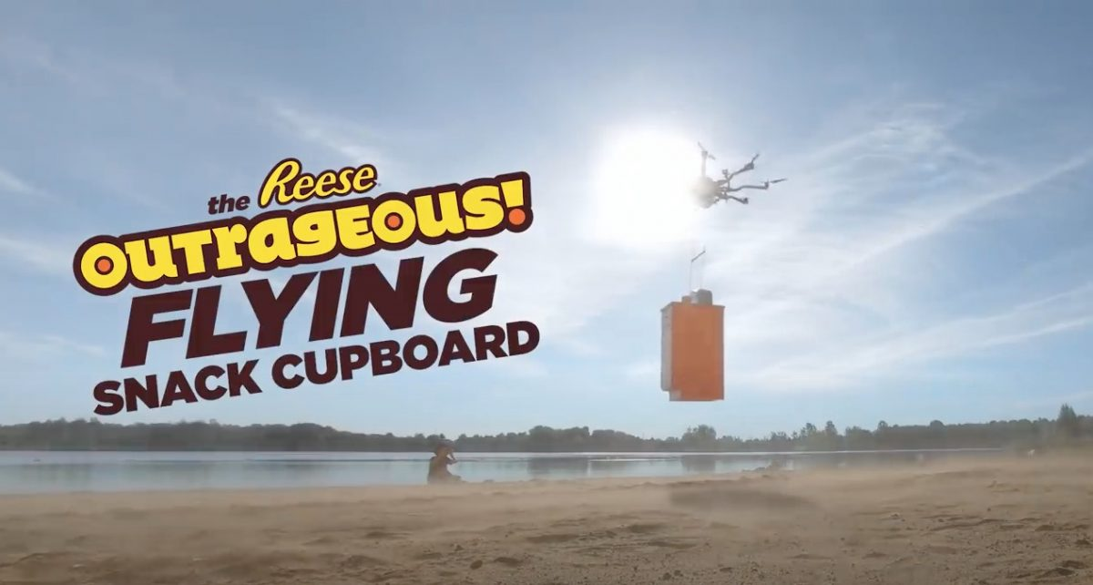 drone delivery experiential marketing stunt for reese