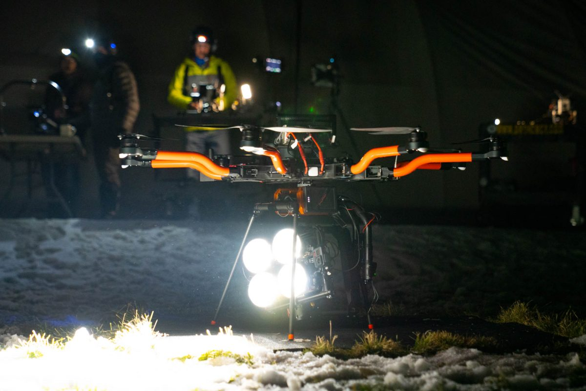 stratus led lighting on heavy lift drone